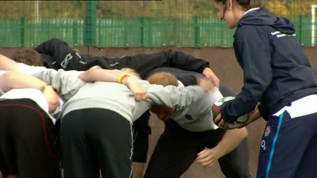 prince harry attends rugby festival at eccles rfc shows exterior shots prince harry practice scrum with players in the prop position on october 20... - jugendmannschaft stock-videos und b-roll-filmmaterial