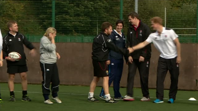 prince harry attends rugby festival at eccles rfc shows exterior shots prince harry facing a scrum and shaking hands with coaches before departing on... - jugendmannschaft stock-videos und b-roll-filmmaterial