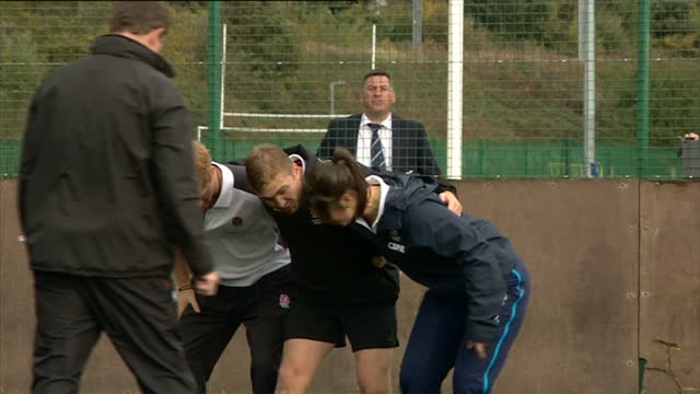 prince harry attends rugby festival at eccles rfc shows exterior shots prince harry talking to rugby players and being shown how to scrum on october... - jugendmannschaft stock-videos und b-roll-filmmaterial