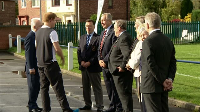 prince harry attends rugby festival at eccles rfc shows exterior shots prince harry shaking hands with guests at the rugby club on october 20 2014 in... - jugendmannschaft stock-videos und b-roll-filmmaterial