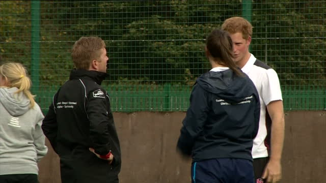 prince harry attends rugby festival at eccles rfc shows exterior shots prince harry taking part in rugby training on october 20 2014 in salford... - jugendmannschaft stock-videos und b-roll-filmmaterial