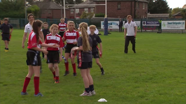 prince harry attends rugby festival at eccles rfc shows exterior shots prince harry watching touch rugby match being played on october 20 2014 in... - jugendmannschaft stock-videos und b-roll-filmmaterial