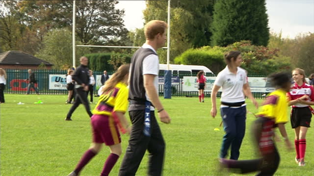 prince harry attends rugby festival at eccles rfc shows exterior shots prince harry encouraging young rugby players while they are playing match on... - jugendmannschaft stock-videos und b-roll-filmmaterial
