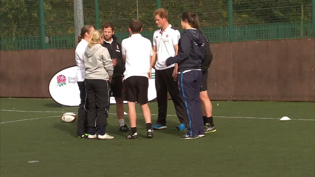 prince harry attends rugby festival at eccles rfc shows exterior shots prince harry in rugby training session practicing scrum on october 20 2014 in... - jugendmannschaft stock-videos und b-roll-filmmaterial