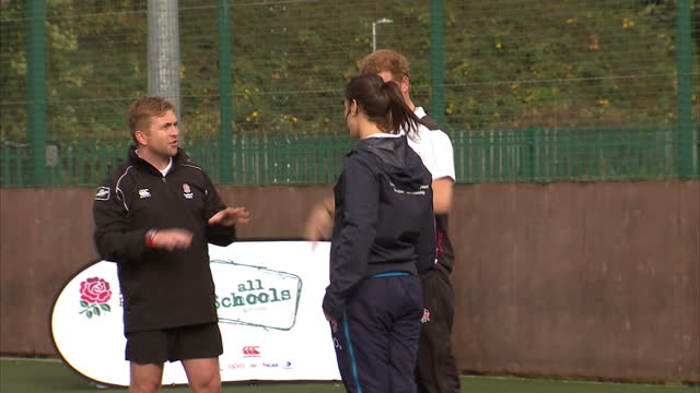 prince harry attends rugby festival at eccles rfc shows exterior shots prince harry at rugby training doing scrum on october 20 2014 in salford... - jugendmannschaft stock-videos und b-roll-filmmaterial
