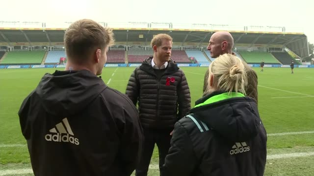 prince harry attends terrence higgins trust event at twickenham england london twickenham various of prince harry and gareth thomas talking to... - gareth thomas rugby player stock videos & royalty-free footage