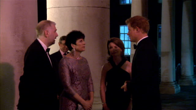 prince harry attends wellchild gala dinner; england: london: chelsea: royal hospital: ext prince harry arrives, handshakes at door int harry photo op... - gaby roslin stock videos & royalty-free footage
