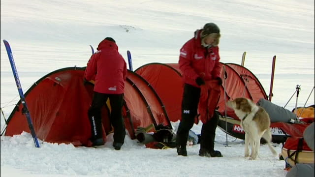 prince harry backs attempt by injured soldiers to climb mount everest lib norway spitzbergen ext / snow prince harry packing up equipment outside tent - svalbard and jan mayen stock videos & royalty-free footage
