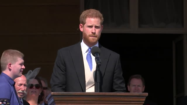 vídeos de stock, filmes e b-roll de prince harry being interrupted by a bumblebee as he gives a speech at buckingham palace - mangangá