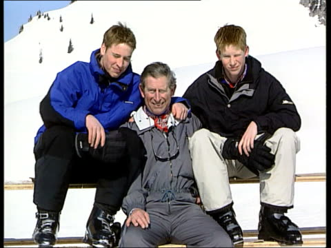 prince harry birthday lib klosters ms prince william prince charles prince harry posing for photocall during ski trip ltn - vacanza sulla neve video stock e b–roll