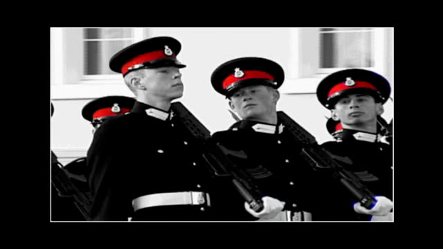 vídeos de stock, filmes e b-roll de prince harry celebrates at lap dancing club graphicised sequence prine harry marching with other sandhurst military cadets - lap dancing