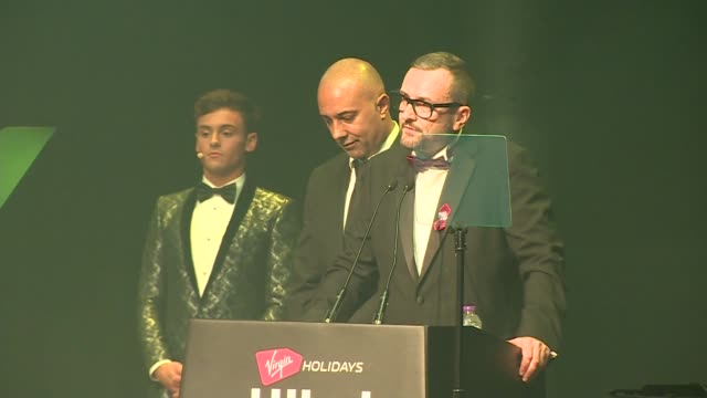 Prince Harry collects award on behalf of Princess Diana at the Attitude Awards ENGLAND London Camden Roundhouse INT Tom Daley introducing people to...