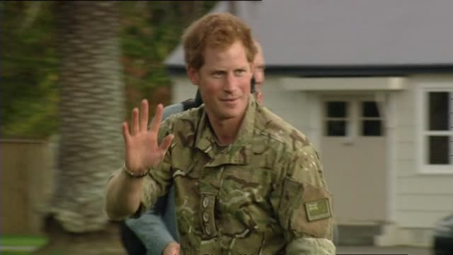 Prince Harry departing from Linton Army Camp by waving farewell and leaving aboard RNZAF NH90 helicopter