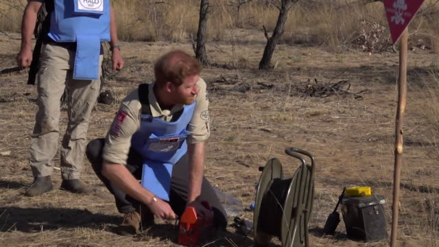 prince harry detonates mine in minefield in angola, during his tour of africa - 起爆装置点の映像素材/bロール