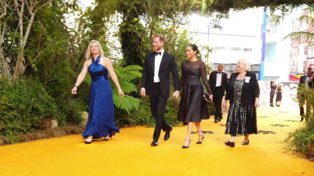 4k prince harry duke of sussex and meghan duchess of sussex at the lion king uk premiere on july 14 2019 in london greater london - beyoncé knowles stock videos & royalty-free footage