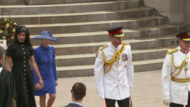 prince harry duke of sussex and meghan duchess of sussex attend the official opening of anzac memorial on october 20 2018 in sydney australia the... - day 5 stock videos & royalty-free footage