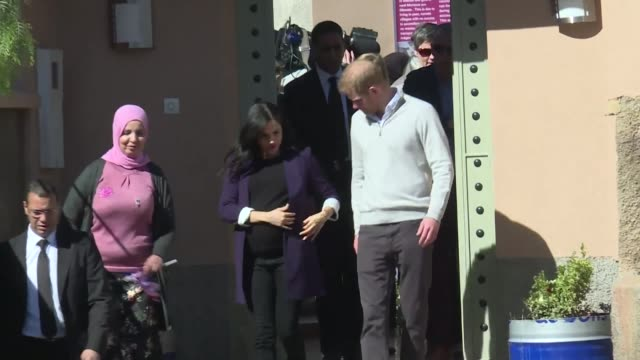 Prince Harry Duke of Sussex and Meghan Duchess of Sussex leave the Education For All boarding house in the town of Asni in the foothills of the High...