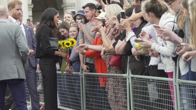 Prince Harry Duke of Sussex and Meghan Duchess of Sussex visit Trinity College on their visit Ireland on July 10 2018 in Dublin Ireland