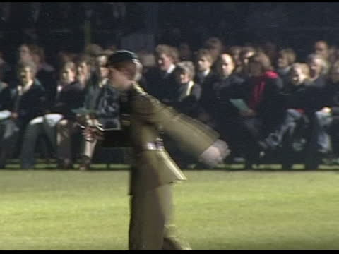 eton cadets parade; england: berkshire: eton: eton college: ext / night cms side prince harry holding up sword as standing to attention beside... - lighting technique stock videos & royalty-free footage