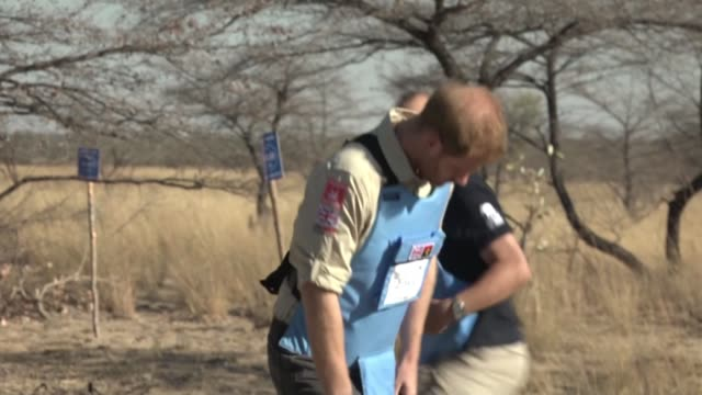 vídeos de stock, filmes e b-roll de prince harry follows in mother's footsteps as visits demining project angola dirico luengueluiana national park ext prince harry duke of sussex... - detonador