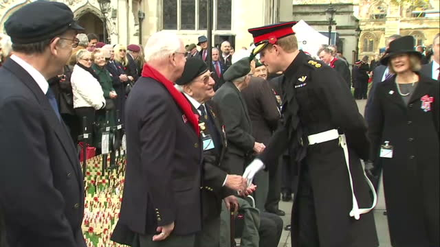prince harry greeting veteran soldiers waiting in row, with cutaway to medals on veteran's chest - cutaway video transition stock videos & royalty-free footage
