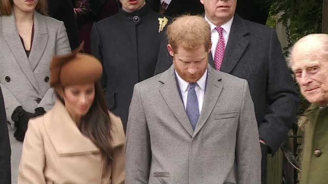 prince harry guest edits bbc radio 4 'today' programme lib / t251217001 sandringham ext royal family leaving church on christmas day including queen... - bbc stock videos & royalty-free footage
