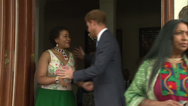 prince harry has ended his tour of south africa with a visit to the nelson mandela centre built in honour of the country's first postapartheid... - waisenhaus stock-videos und b-roll-filmmaterial