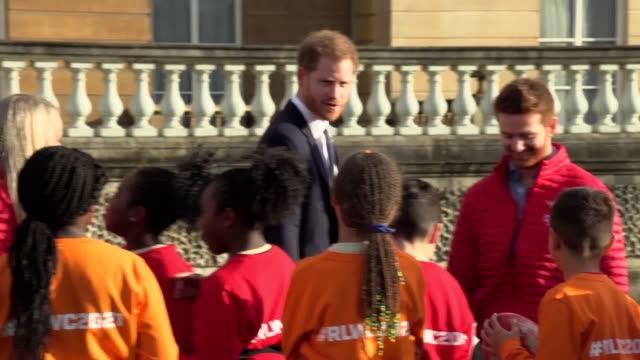 prince harry ignores a question about how discussions are going on his and meghan's future the duke was at buckingham palace hosting the rugby league... - arts culture and entertainment stock videos & royalty-free footage