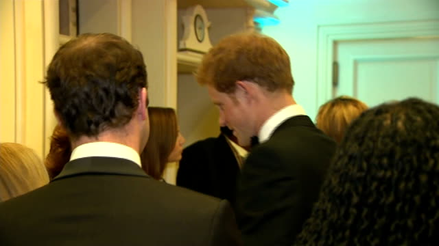 sentebale gala dinner south africa johannesburg photography*** prince harry out of car on arrival various gvs of harry inside gala talking to people... - gala stock videos & royalty-free footage