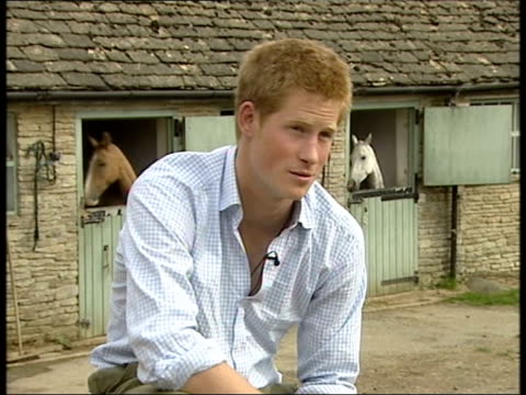prince harry interview to mark 21st birthday highgrove prince harry interview sot she is a wonderful woman/ and has made our father very very happy... - gloucestershire stock videos and b-roll footage