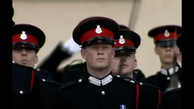prince harry is serving in afghanistan lib sandhurst ext prince harry taking part in passing out parade with household cavalry regiment queen along... - passing out parade stock videos & royalty-free footage