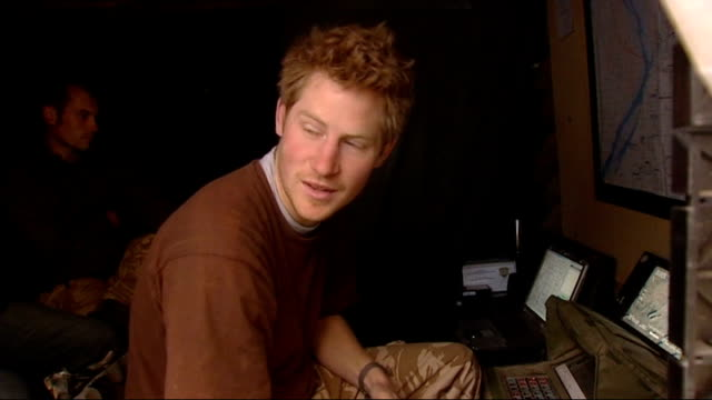 vídeos y material grabado en eventos de stock de prince harry is serving in afghanistan; more of harry interview as talks about talking with french pilots who sound like somethng out of monty python... - monty python