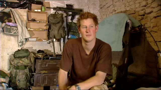 Prince Harry interview in Afghanistan and scenes of camp life AFGHANISTAN Helmand Province Forward Operating Base Delhi INT Prince Harry interview...