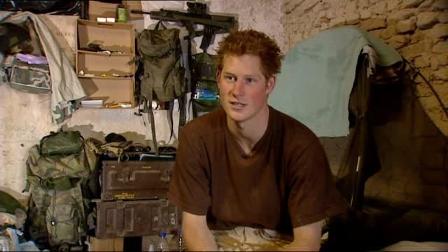 prince harry interview in afghanistan and scenes of camp life not at all i've been mocked we have a good laugh every day and mark blows smoke up my... - kandahar afghanistan stock videos & royalty-free footage