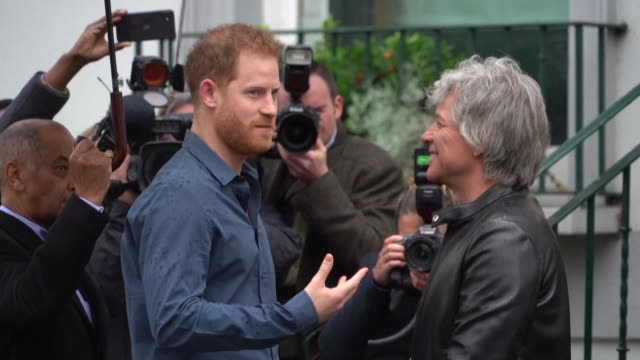 prince harry joins jon bon jovi at abbey road studios in london to record a track for the invictus injured ex servicemen's charity with the pair... - disability icon stock videos & royalty-free footage