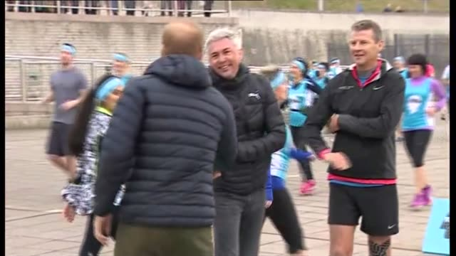 prince harry joins marathon training in newcastle prince harry joins marathon training in newcastle england newcastle ext prince harry arrives /... - steve cram stock videos & royalty-free footage