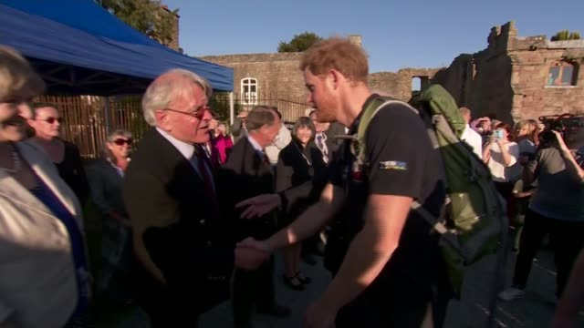 Prince Harry joins 'Walking with the Wounded' walk in Ludlow ENGLAND Shropshire Ludlow EXT Various shots of Prince Harry and 'Walking With the...