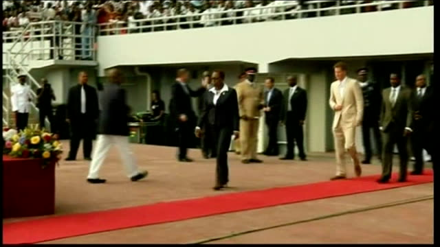 Prince Harry Jubilee tour of Caribbean and Brazil Harry in the Bahamas BAHAMAS EXT Prince Harry along red carpet at youth rally and onto podium