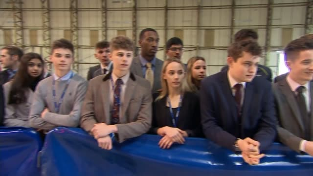 prince harry launches construction of new visitor experience at silverstone; prince harry meeting students in workshop / price harry being shown car... - silverstone stock videos & royalty-free footage