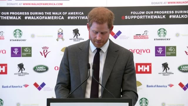vídeos de stock, filmes e b-roll de prince harry launches walk of america expedition london prince harry seated on stage with others as watching video at launch of 'walk of america'... - responsabilidade