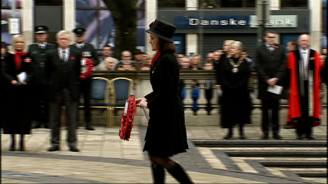 prince harry lays wreath during remembrance day service in kandahar; northern ireland: belfast city hall: ext theresa villiers mp laying wreath at... - kandahar afghanistan stock videos & royalty-free footage