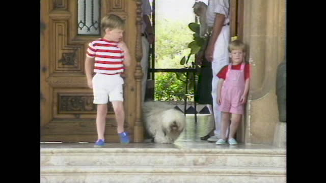 prince harry leans against the door of marivent palace as prince william comes outside at a photocall during a summer holiday with the spanish royals... - jungtier stock-videos und b-roll-filmmaterial