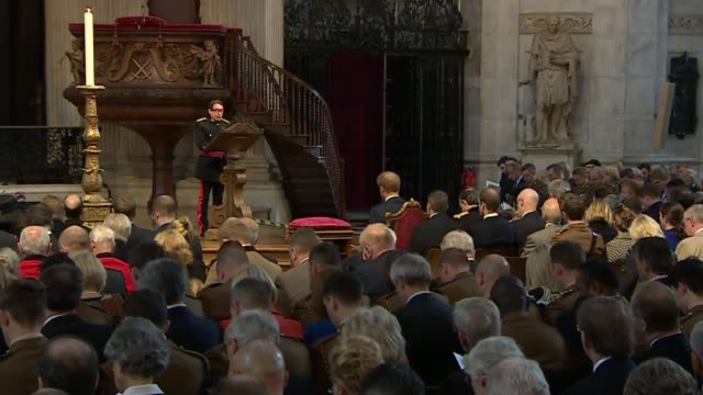 prince harry marks 75th bomb disposal anniversary; wide shot of jools holland speaking during service jools holland speaking during service sot - jools holland stock-videos und b-roll-filmmaterial