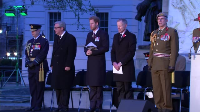 prince harry marks anzac day at dawn service in london prince harry and others on platform as lord's prayer read by reverend steve bennett sot - anzac day stock videos & royalty-free footage