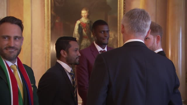 prince harry meets 2019 cricket world cup team captains, sri lanka's dimuth karunaratne and west indies jason holder at buckingham palace event - squadra di cricket video stock e b–roll