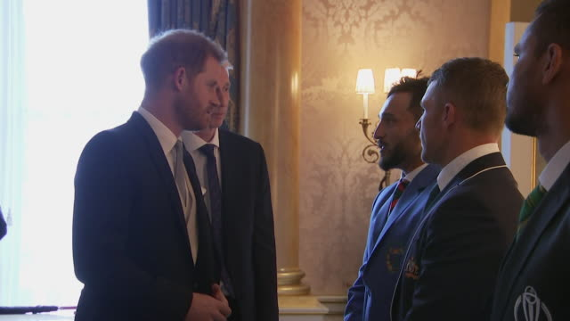 Prince Harry meets captain of the Aghanistan 2019 Cricket World Cup team Gulbadin Naib at Buckingham Palace event