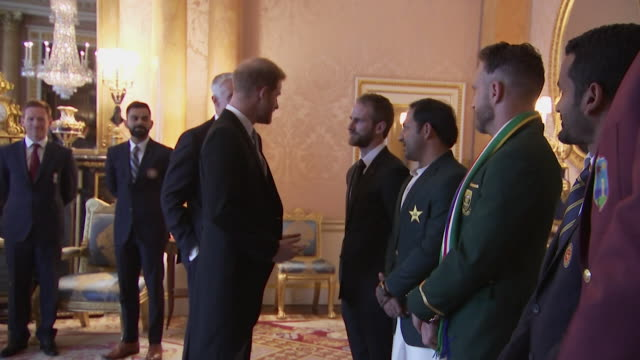 Prince Harry meets captain of the New Zealand 2019 Cricket World Cup team Kane Williamson at Buckingham Palace event