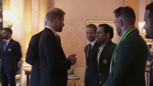 Prince Harry meets captain of the Pakistan 2019 Cricket World Cup team Sarfaraz Ahmed at Buckingham Palace event