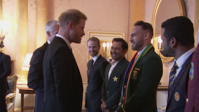 Prince Harry meets captain of the South Africa 2019 Cricket World Cup team Francois du Plessis at Buckingham Palace event