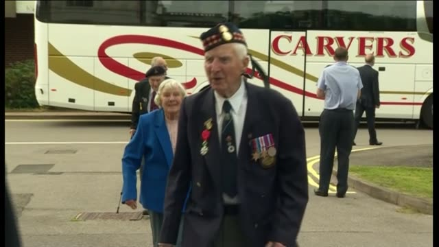 prince harry meets d day veterans at southwick house england southampton ext veterans along as arriving / prince harry out of car and greeting man - shirt and tie stock videos and b-roll footage